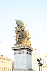 Bronze sculptures. A part of the Vittoriano memorial complex is located on the Piazza Venezia in Rome. Altar of the Fatherland in Rome at sunset