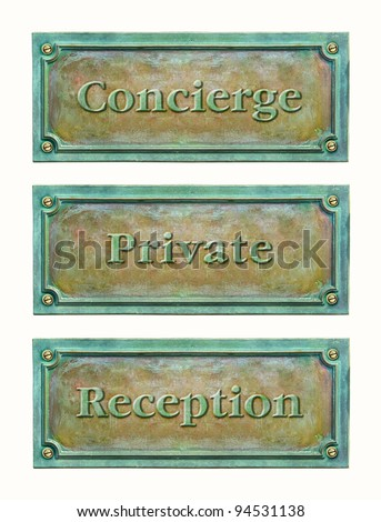 Bronze sign plaque for the hotel or home: concierge, reception, private. Brass plaque with text for the doorplate. Metal grunge nameplate with names for interior or exterior design.