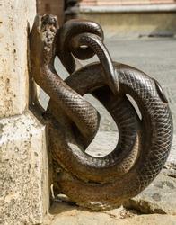 Bronze snake street ornament
