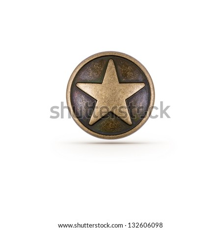 bronze star symbol on isolated...