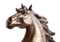 Bronze statue of a horse, isolated on a white background