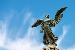 Bronze statue of a Winged Victory, (Ponte Vittorio Emanuele II - Italian), bridge over the river Tiber in Rome, UNESCO world heritage site, Latium, Italy, Europe