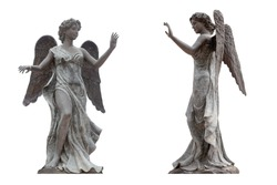 Bronze statue of an angel with wings isolated on a white background the front view. This has clipping path.