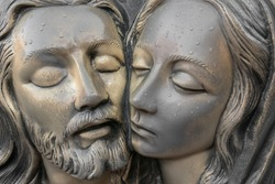 Bronze Statue of dead Jesus Christ, embraced by the Virgin Mary. It can be used for concepts and events.