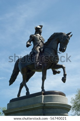 Bronze statue of George Washington on horse in Boston Public Garden