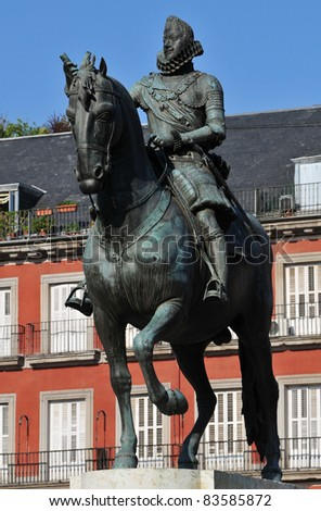 Bronze statue of king Philips III at the center of Plaza Mayor in Madrid (Spain). (constructed in 1616 by Jean Boulogne and Pietro Tacca)