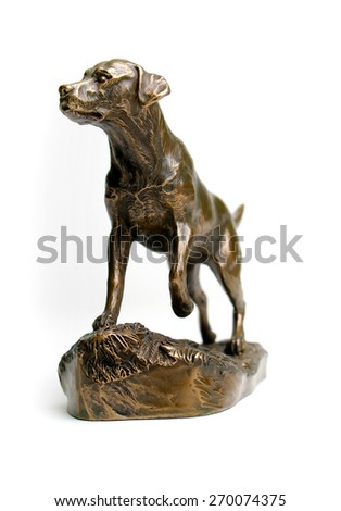 Shutterstock Bronze Statue of Labrador Retriever isolated on white background.