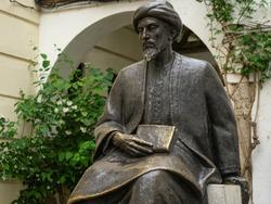 Bronze statue of Moshe Ben Maimon or Ben Maimonides, Jewish philosopher 1135-1204 in Cordoba in Spain.