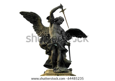 Bronze statue of Saint Michael by Peter Anton von Verschaffelt in Castel Sant'Angelo, Rome Italy