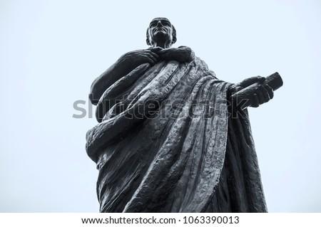 Bronze Statue of Seneca the Younger, Roman Stoic philosopher. Cordoba, Spain