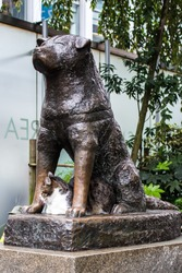 Bronze statue of the dog Hachiko in Tokyo, a symbol of loyalty