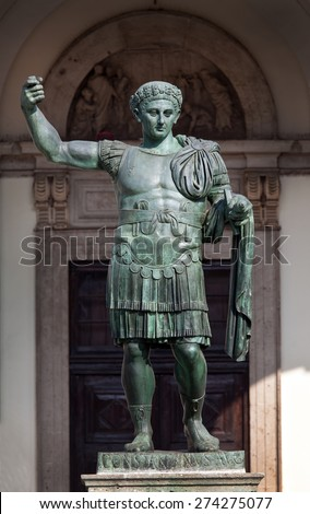 Bronze statue of the Roman Emperor Constantine who issued the Edict of Milan in AD 313 #274275077