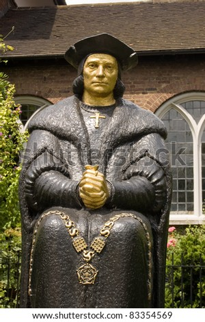 Bronze statue of the Tudor politician, considered by Catholics to be a saint, Sir Thomas More.  Next to Chelsea Old Church, London.  Sculpted by L Cubitt Bevis, erected 1969. Stock fotó ©