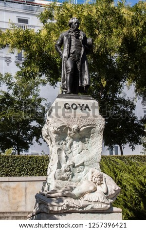Bronze statue to famous Spanish painter, Francisco of Goya, outside the entrance to the Museum Art Gallery in Central Madrid, Spain, Europe.