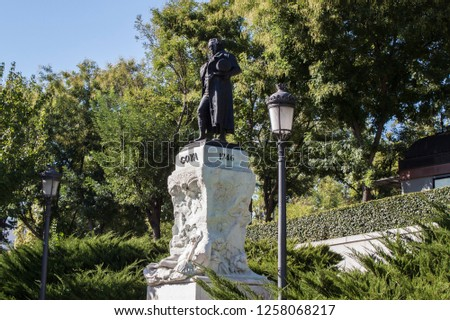 Bronze statue to famous Spanish painter, Francisco of Goya, outside the entrance to the Prado Museum Art Gallery in Central Madrid, Spain, Europe.