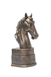 bronze statuette of a horse isolated on white