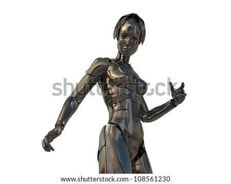 Bronze steel cyborg with red eyes isolated on white / Robotic woman