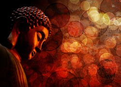Bronze Zen Buddha Statue Meditating with Blurred Textured Red Background