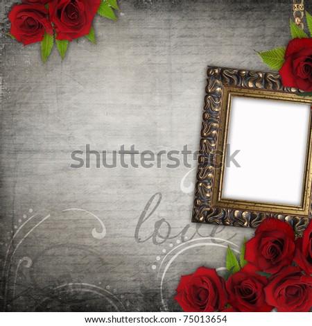 Bronzed vintage frame on old grunge background  with red roses (1 of set)