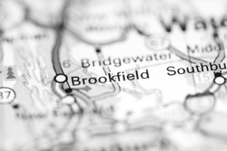 Brookfield. Connecticut. USA on a geography map