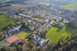 Brookfield countryside rural village aerial view from above in Renfrewshire Scotland