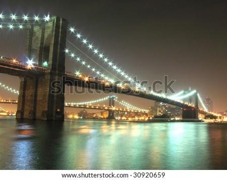 Brooklyn and Manhattan bridges, New York City - stock photo