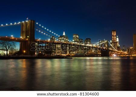 Brooklyn bridge after sunset, New York
