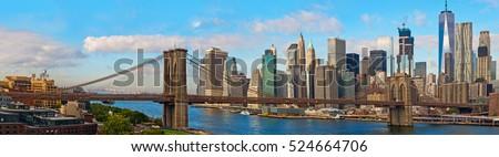 Brooklyn Bridge and Cityscape of New York. Panoramic view