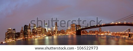 Brooklyn Bridge and Downtown Manhattan panorama from across east river