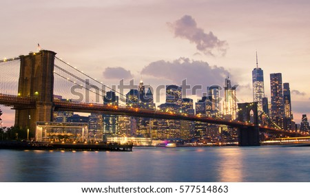 Brooklyn Bridge and Lower Manhattan in New York City, USA