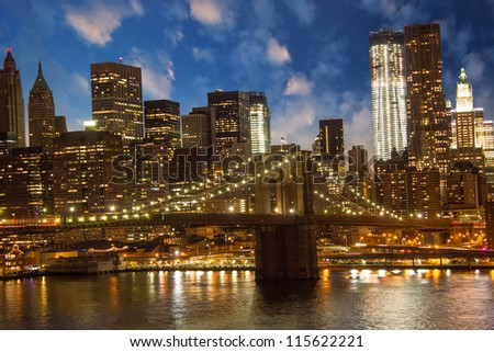 Brooklyn Bridge and Lower Manhattan Skyline at Sunset, view from Manhattan Bridge