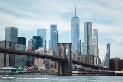 Brooklyn bridge and Manhattan cityscape, view on New York downtown from Dumbo, Brooklyn, USA