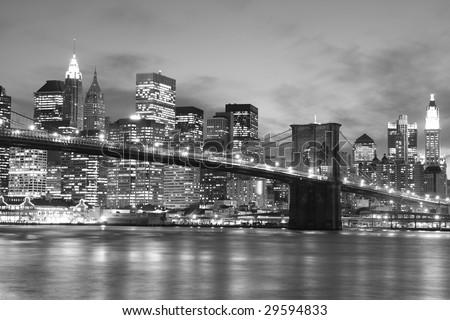 Brooklyn Bridge and Manhattan skyline At Night, New York City #29594833