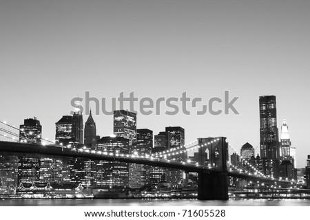 new york city at night black and white. new york city at night black