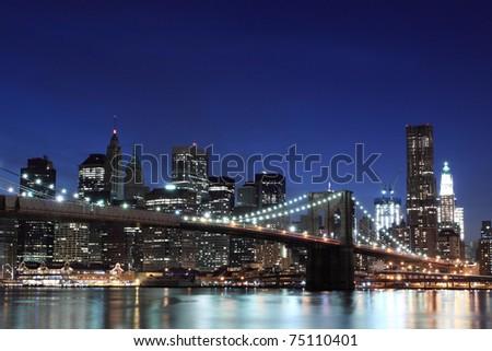 Brooklyn Bridge and Manhattan Skyline At Night, New York City #75110401