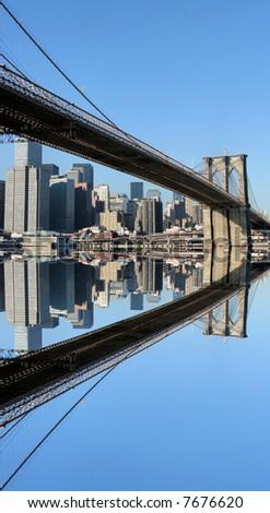 Brooklyn Bridge and Manhattan skyline on a Clear Blue day