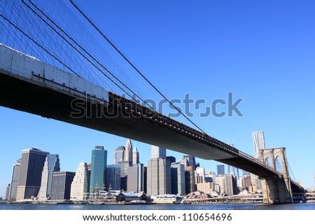 Brooklyn Bridge and Manhattan Skyline on a Clear Blue Day, New York City