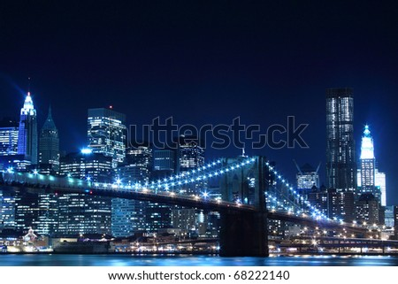 Brooklyn Bridge and Manhattan Skyline View From the East River At Night, New York City #68222140