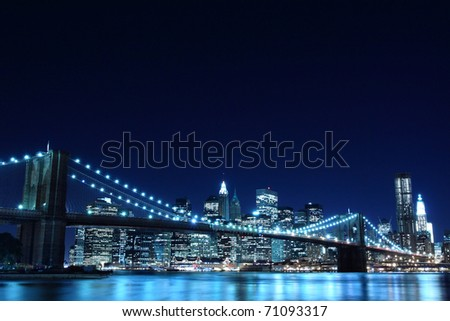 Brooklyn Bridge and Manhattan Skyline View From the East River At Night, New York City