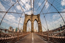 Brooklyn bridge and New York city in the background from a fish eye perspective