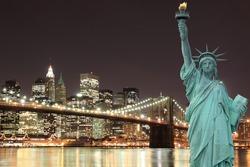 Brooklyn Bridge and The Statue of Liberty at Night, New York City