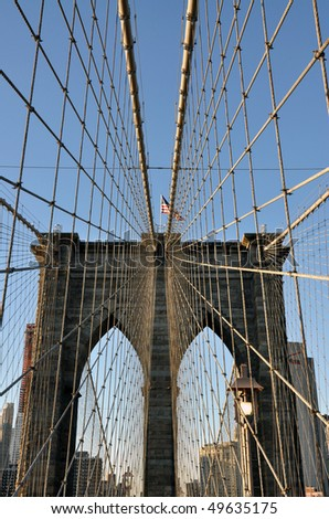 Brooklyn Bridge and the US flag during a beautiful day