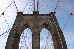 Brooklyn Bridge Arch Against Blue Sky, New York