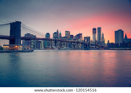 Brooklyn bridge at dusk, New York City #120154516