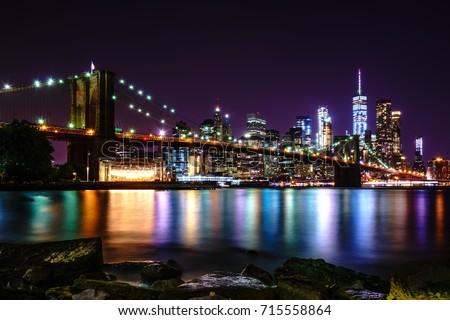 Brooklyn Bridge at Night #715558864