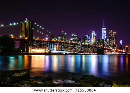 Brooklyn Bridge at Night with Water Reflection, New York City Skyline #715558864