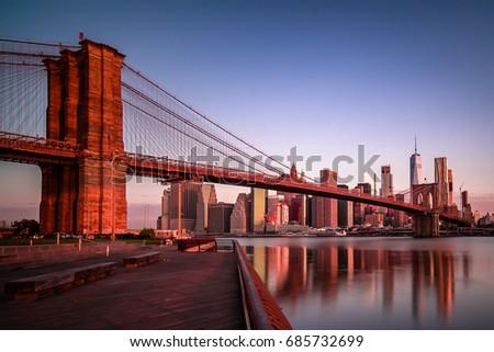 Brooklyn bridge at sunrise #685732699