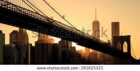 Brooklyn bridge at sunset, New York City #281825321