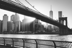 Brooklyn bridge at sunset, New York City in black and white