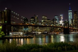 Brooklyn bridge by night with Financial District